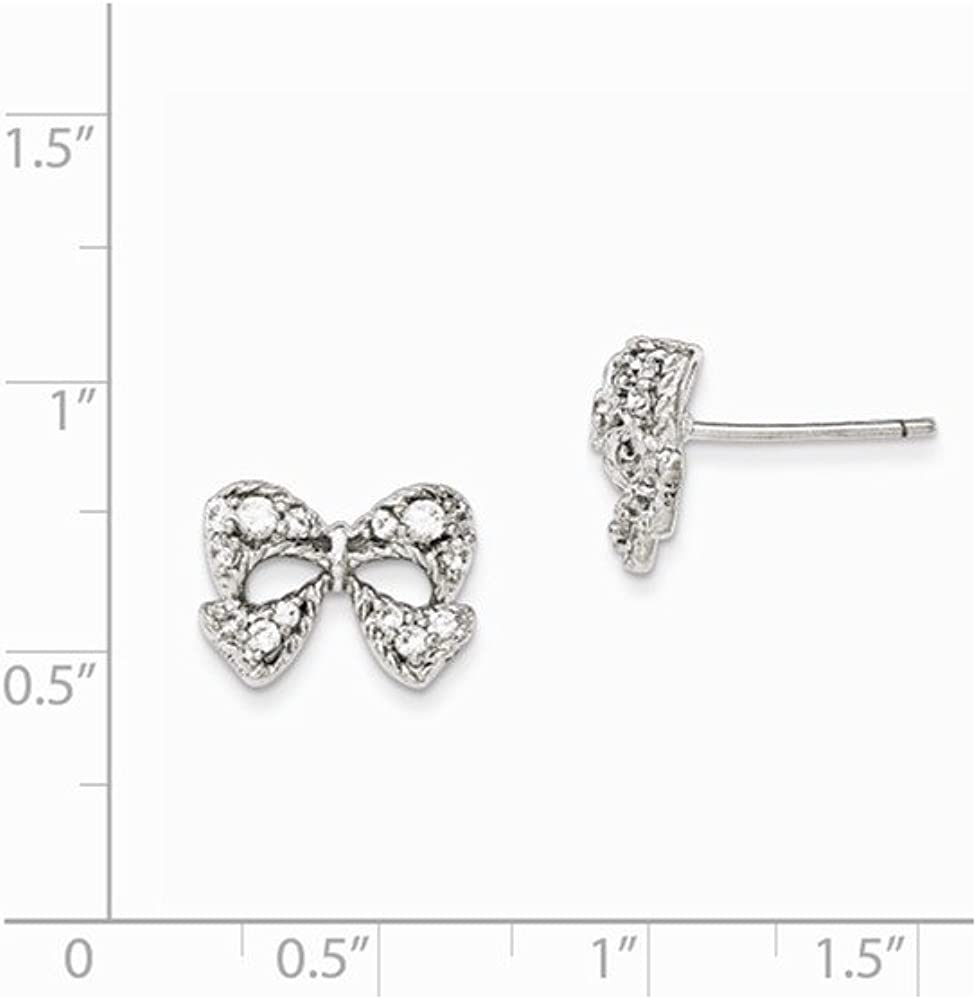 925 Sterling Silver Rhodium-plated CZ Micro pav Bow Post Earrings