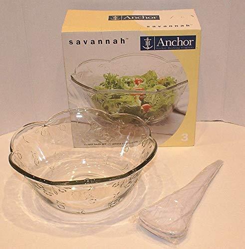 Anchor Hocking Savannah Salad Serving Fruit Bowl ~ Large Size: 4 Quart / 1 Gallon ~ FREE Plastic Servers Included