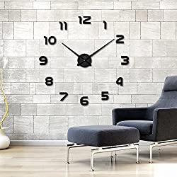 Large DIY Wall Clock Modern Mute 3D Frameless Mirror Surface Wall Stickers for Living Room Bedroom Home Office Decorations Gift - Black