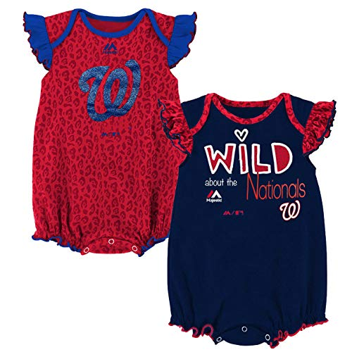 Outerstuff MLB Newborn Infants Girls Team Sparkle 2 Piece Creeper Bodysuit Set (6/9 Months, Washington - 2 Washington Piece Nationals Mlb