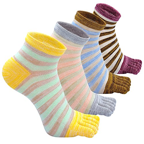 Toe Socks Women,Five Finger Socks Cotton,Breathable Toe Socks for Women,Running Toe Socks with Reinforced Heels and Toes