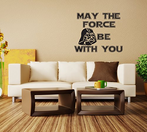 May The Force Be With You Vinyl Wall Decal - Darth Vader - Inspired By Star Wars - Dark Side of the Force - Decor Wall Decal - Wall Decal - Anakin Skywalker - Home Decor - Color: Black(22