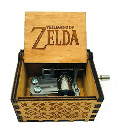 Antique Carved Wooden Music box Hand cranked Music: Game of Thrones, Harry Potter, Merry Christmas, Beauty and the Beast, and Zelda Theme Gift (Zelda; Song of Storms from Ocarina of Time, Wood)