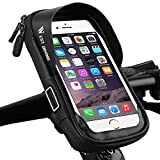 WESTGIRL Bike Handlebar Bag Touch Screen & Waterproof, Universal Bicycle Front Tube Cell Phone Pouch Mount Holder Case 360°Rotatable with Front Visor for Smartphone Up to 6 Inches (Black)