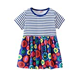 2019 Hot! Cute Girls Dress,Toddler Baby Infant Clothes Striped Flower Printed Patchwork Princess Dresses Outfit Red