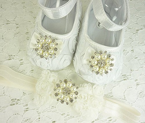 Christening Shoes and Headband Set with Pearls and Rhinestones in Silver Setting, Soft White Rosette Baptism Footwear, Wedding Slippers, Infant, Sizes: 3-18 mos, Made in the USA