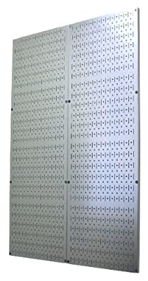 4 Foot Pegboard Sheets with Formed Edges by Wall Control Pegboard - Two Pack of 16in x 48in Metal Pegboard Panels