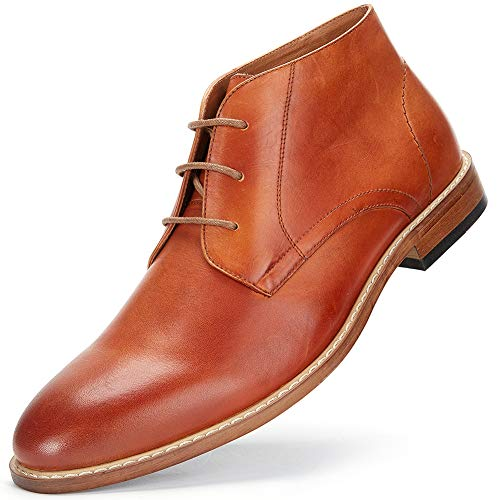 - Men's Chukka Boots Casual Dress - Genuine Leather Dress Boots, Comfort Casual Shoes for Men MS007-CAMEL-12