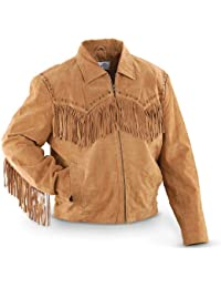 Men's Fringed Suede Leather Short Jacket - 221-409