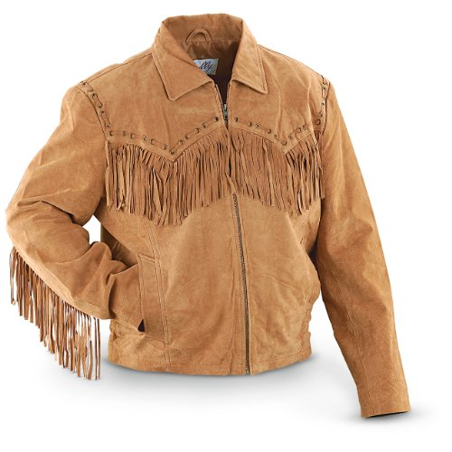 Scully Men's Fringed Suede Leather Short Jacket Bourbon ()
