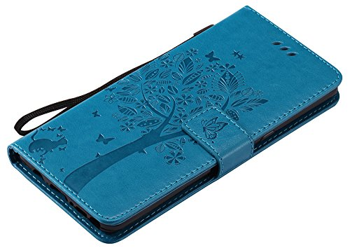 Samsung Galaxy Note 8 Hülle im Retro Wallet Design,Roreikes Leadertasche Premium Lederhülle Flip Case im Bookstyle Folio Cover Kartenfächer Magnetverschluss und Standfunktion Leder Schale Etui Handyta Blau