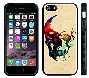Apple iPhone 6 Black Rubber Silicone Case - Colorful Skull Painting Cool