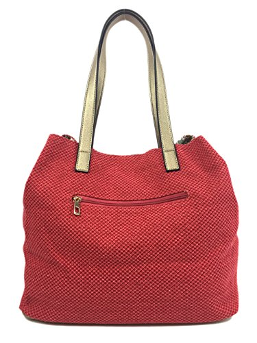 Glitter SURF Large Bag Waves Bag in Summer Bag Canvas Soft and Beach Expanding Tote Zips with Glitter Shopper Red Print Straw Lovely Handles with Colours Canvas Comfortable Coral Designer in Summer 8Tq1x8w