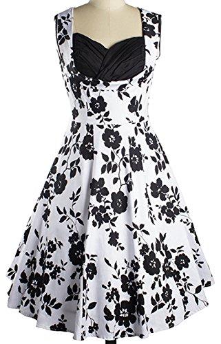 Wenseny Mujer Vestidos Vintage Sin Mangas Impresos Flores Cóctel Vestido de Noche de Fiesta Negro