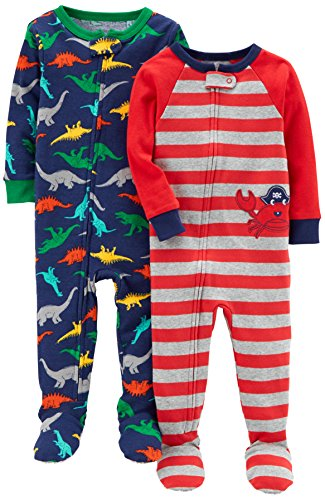 Footed Pajama Set (Carter's Baby Boys' Toddler 2-Pack Cotton Footed Pajamas, Crab/Dino, 3T)