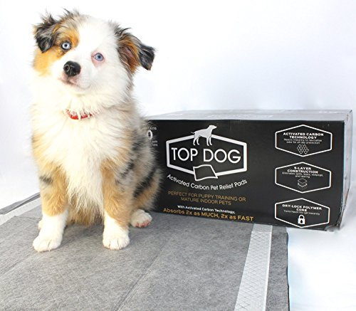 Top Dog, Black Carbon Puppy Pads, (60 Pack) Deluxe Dog Training Pad with Extra Quick-Dry Advanced Polymer - Perfect for Puppy Housebreaking and as Potty Pads for Your Mature Pet