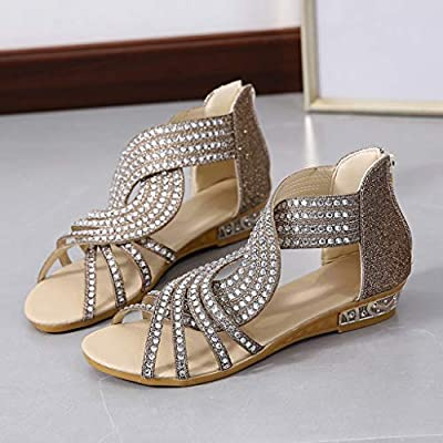 Dainzusyful Flat Beach Sandals Shoes for Womens Ladies Fashion Casual Open Toe Cutout Rhinestone Wedges Sandals: Clothing