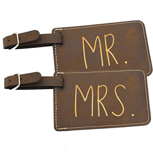 My Personal Memories Mr and Mrs His and Hers Couples Luggage Travel Tags for Bags - Gift Set of 2 (Mr and Mrs Rawhide)