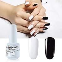 Vishine 2 Colors Nail Gel Polish Set Pure Black White Color Soak Off UV LED Varnish Collection Long Lasting Nail Art 2 Bottle 8ml