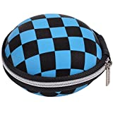 Generic Unique Checkered Round Shape Earphone Handsfree Headset Hard Case with Zipper Enclosure + Case Star Cellphone Bag (Black and Blue)