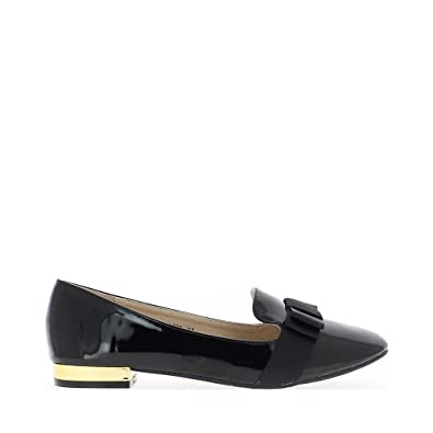 Zapatos negros con mocasines retro de estilo de 2cm de talones - 37: Amazon.es: Zapatos y complementos