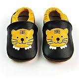 Vesi-Chaussures Bébé Cuir Souple Chaussons Premiers Pas Respirant pour Garçon Fille Nourrisson Efant Tigre Taille L:12-18 Mois