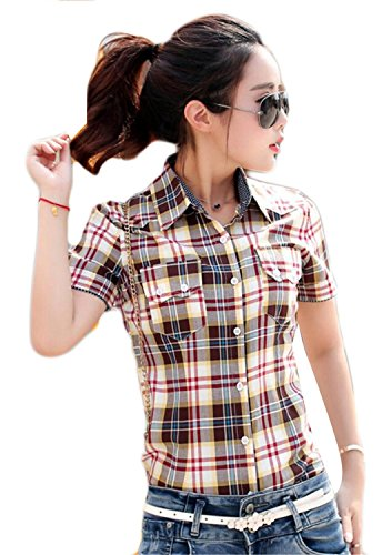 (Gocgt Women Stylish Retro Western Plaid Flannel Button Up Shirts Short Sleeve Button Down Shirts 4 XL)