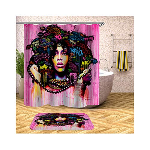 KnBoB Waterproof Shower Curtain African Woman Avatar Multicolor Shower Curtain Style 4 180X200CM Hooks