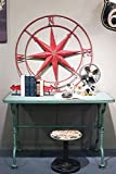 Large 41'' Round Metal Compass Wall Plaque Distressed Red Seaside Country Home Nautical D