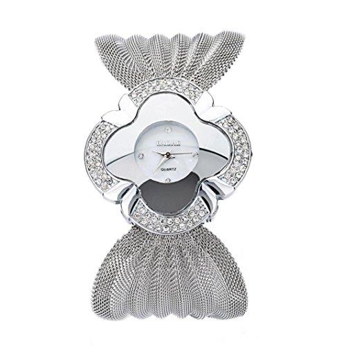 Luxury Diamond Wristwatch Quartz Bracelet Watches Gift (Silver) ()