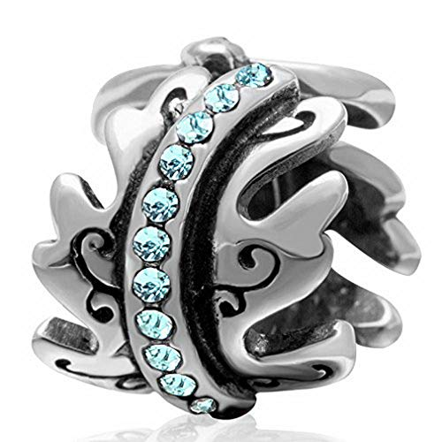 (Ollia Jewelry 925 Sterling Silver Bead Sea Wave Bead with Austrian Crystals Spoondrift Spindrift Charm Ocean Bead Summer Beach Charms (Blue))