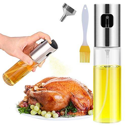 Oil Sprayer Dispenser,Olive Oil Sprayer with Clean brush, spray bottle for oil Versatile Glass spray olive oil bottle for Cooking,Vinegar Bottle Glass,For Cooking,Baking,Roasting,Grilling.