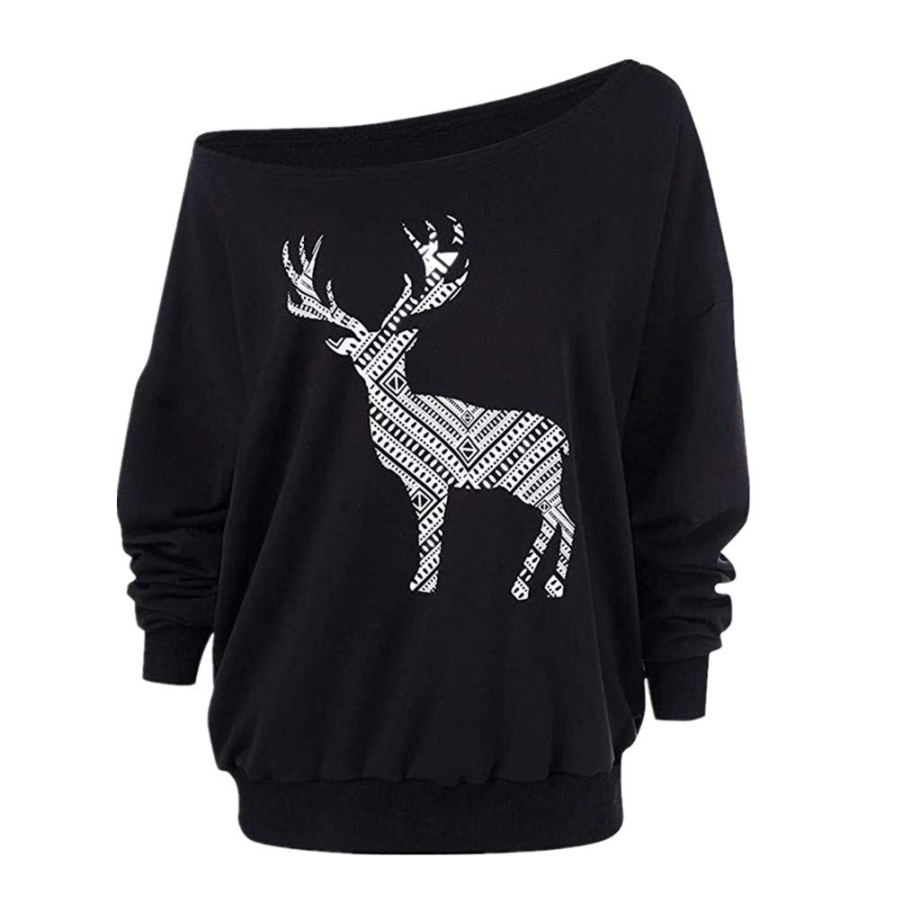 Ladies Christmas Loose Off Shoulder Tops Laimeng/_World Women Long Sleeve Wapiti Blouse Sweatshirt Casual Pullover