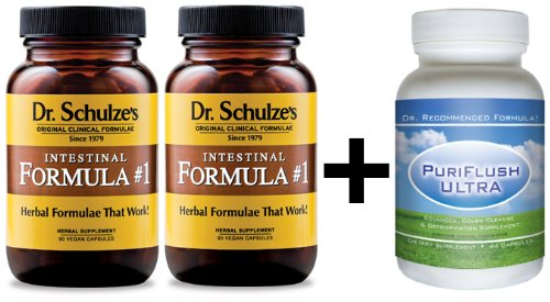 DR. SCHULZE'S Intestinal Formula #1 (2 Bottles) & PURlFLUSH ULTRA - Complete colon cleanse detox package, Most effective combination for cleansing and detoxing
