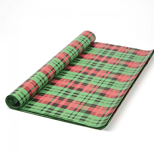 FloristryWarehouse Tissue Paper Roll 50 x 75cm (x 48 sheets) Green and Red Tartan Oasis