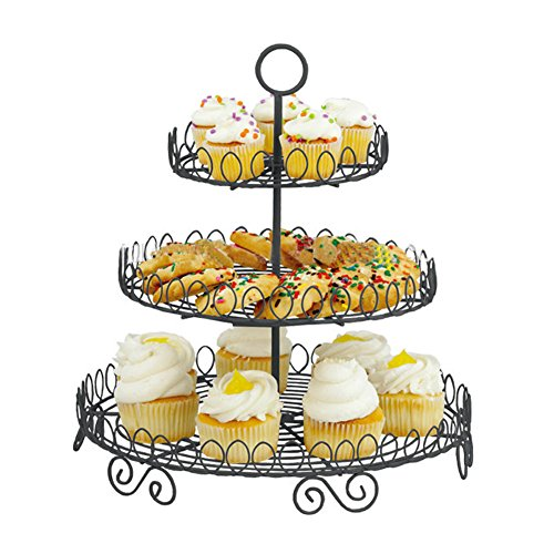 Iron Buffet Stand - 3-Tier Cake Stand and Fruit Plate Cupcake Fashion Black Iron Stand for Cakes Desserts Fruits Candy Buffet Stand for Wedding & Home & Birthday Party Serving Platter