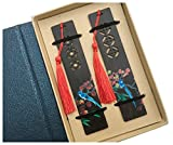 Wooden Handmade Coloured Drawing Natural Wood Bookmarks - Set of 2 Bookmark (Including Box)