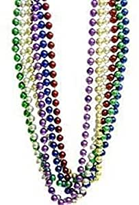 """Mardi Gras, Assorted Color Beads, 14 mm, 48"""", 1 Dozen (12pcs)."""