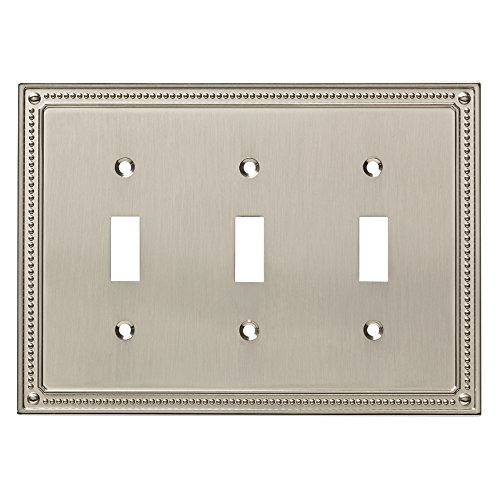 Franklin Brass W35066-SN-C Classic Beaded Triple Switch Wall Plate/Switch Plate/Cover, Satin Nickel ()