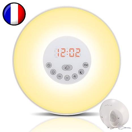 Simulador de amanecer para un despertar luminoso en calma - Duerma mejor con el modo Noche Oscura - Experimente mañanas más zen - Wake-up light modelo ...