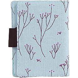 niceEshop(TM) Canvas Flower Credit Card Case Bag Holder with 20 Card Slot,Light Blue