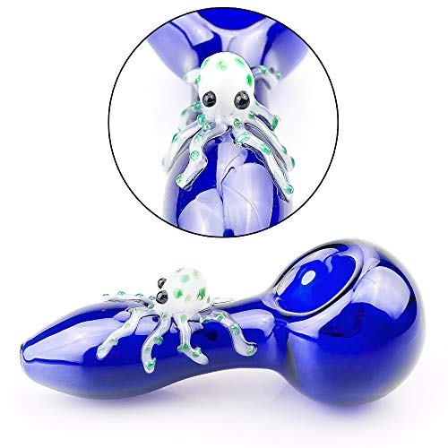 2019 New Style 4 inch Blue Happy Octopus Unique Handmade Unbreakable Glass