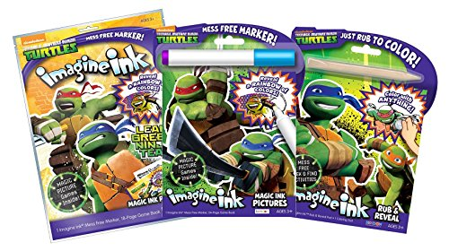 Bundle of 3 Teenage Mutant Ninja Turtles Imagine Ink Items - Magic Pictures Activity Book, Play Pack, and Rub & Reveal ()