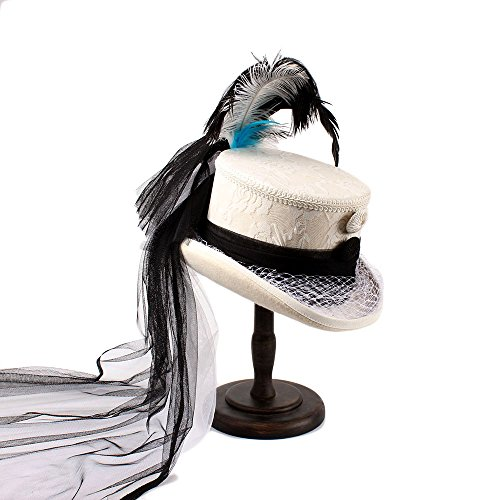 SRY-Caps Victorian Gothic Corset Black and Ivory Lace Wedding Hat Holiday Hat With Feather Black Yarn For Women (Color : White, Size : 59cm) by SRY-Caps