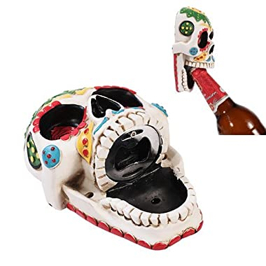 Day of The Dead White Sunflower Sugar Skull Wall Bottle Opener Home Kitchen Decor