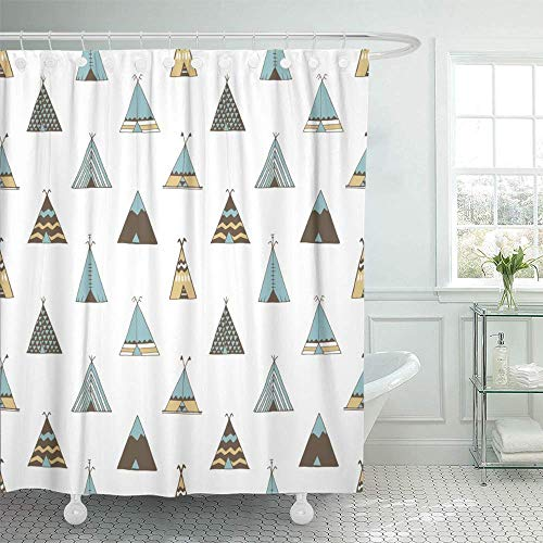 Postcard Teepee (Shower Curtain 72x72 Inch Home Postcard Decor Boho Teepee Native American Summer Tent in Indian Aloha Camping Woodland Caravan Shower Hook Set are Included)