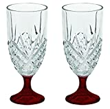 dublin platinum crystal - Godinger Dublin Crystal Set of 2 Iced Beverage Crystal Glasses - Bottom Color Red - Additional Vibrant Colors Available by TableTop King
