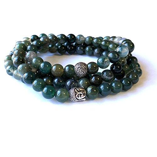 Moss Agate Bracelet - Agar Creations - Mens Womens 108 Bead Moss Agate 8mm Mala Bracelet - Meditation Beads, Yoga Bracelet