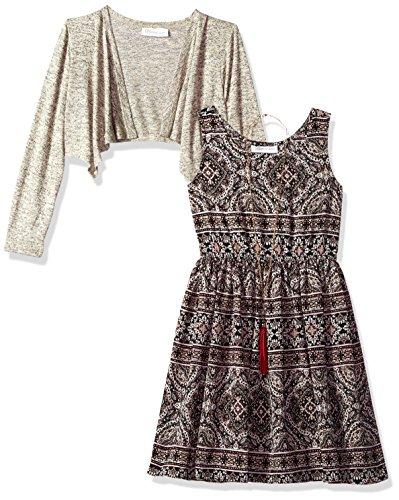 Cute Dress For Tweens (Bonnie Jean Big Girls' Little Two Piece Dress and Cardigan Set, Beige, 12)