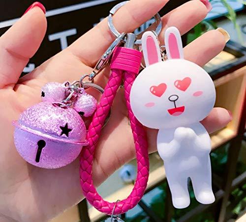 Thedmhom 1 Pcs New Cute Kawaii Korean Cartoon Love Heart Eyes Handshake Cony Bunny Pink Bell Wrist Rope Keychain Novelty Toy Gift Fashion Rabbit Ornaments Coin Purse Keyring Bag Buckle Phone Pendant